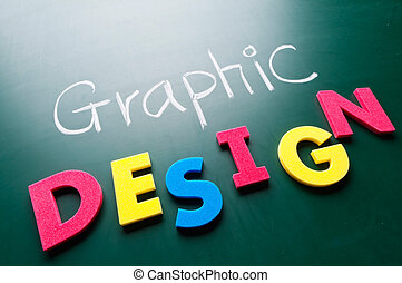 Graphic design concept, colorful words on blackboard.