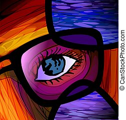 Graphic design - Digital painting of spectacle and eye...