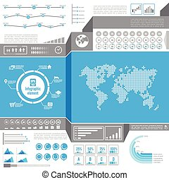 Graphic design element for infographic, light world bar percentage vector illustration