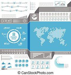 Graphic design element for infographic, light world bar percentage vector illustration