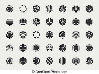 Graphic design element set. Vector logo template.