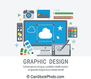 Graphic design flat vector illustration for web