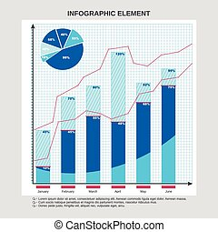 Graphic design for business, pie chart, table calculations