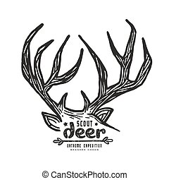 Graphic design for t-shirt with a image of deer horns
