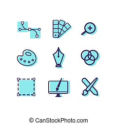 Graphic design icons set. Vector illustration.
