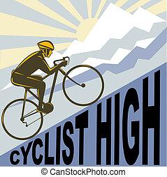 Cyclist racing bike up steep mountain and clouds sunburst -...