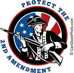 graphic design illustration of an American revolutionary soldier with rifle flag with wording text protect the 2nd amendment
