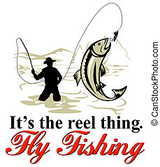 Fly fisherman catching trout with fly reel - graphic design ...