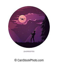 Graphic design illustration of person operating quadrocopter at moon night