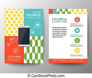 Graphic Design Layout with smart phone concept template for...