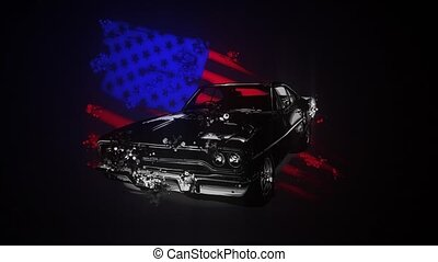 muscle car with american flag