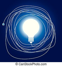 Graphic design of light bulb with power cord