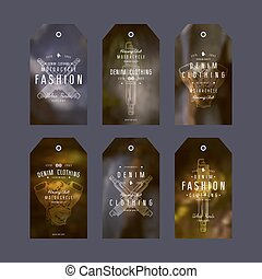 Graphic design of tags for denim clothing
