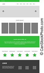 Graphic design of the website. The combination of green, white a