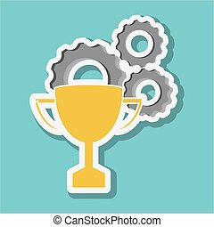 Graphic design of trophy, vector illustration