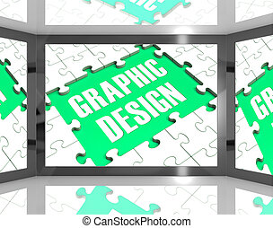 Graphic Design On Screen Showing Graphic Designer