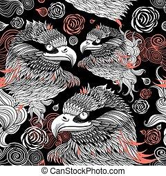 graphic design portraits of eagles - Bright graphic pattern...