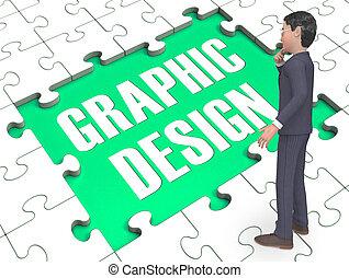 Graphic Design Puzzle Showing Digital Art 3d Rendering