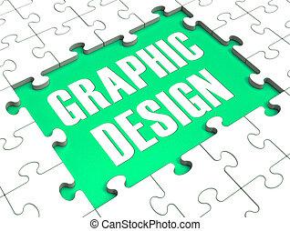 Graphic Design Puzzle Showing Digital Art