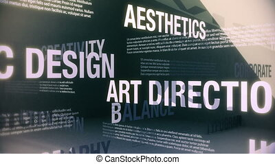 Seamlessly looping animation showing a variety of services a generic graphic design shop might offer. Words and phrases smoothly slide into and around one another in an abstract but elegant looking environment.