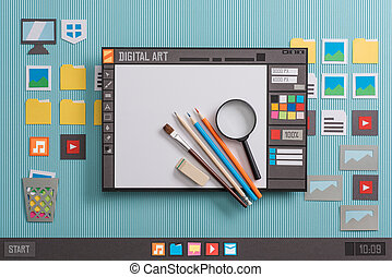 Graphic design software user interface with real tools, creativity and communication concept, collage and paper cut composition