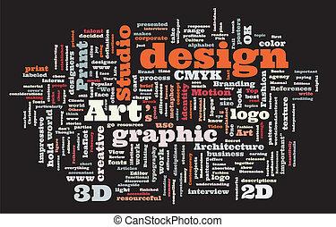 Graphic design studio. Trendy print concept word cloud