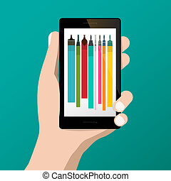 Graphic Design Symbol with Colorful Brushes on Cellphone Screen in Human Hand. Vector Flat Design Illustration. Creative Project Application.