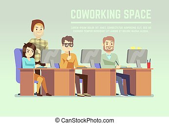 Graphic design team working in agency office with laptops vector illustration