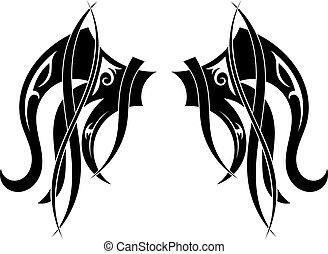 Graphic design Tribal tattoo wings. Vector illustration