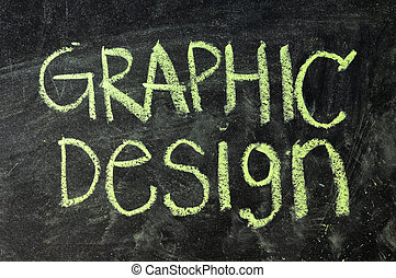 Graphic design word- white chalk handwriting on isolated vintage slate blackboard