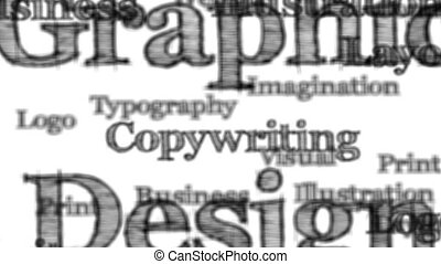 Graphic Design words background loop with matte