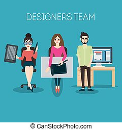 Graphic Designer. Artist with Graphic Tablet. Vector illustration