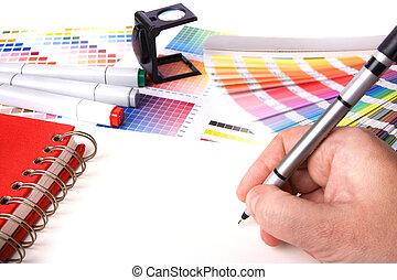 graphic designer desk - graphic design and coloured swatches...