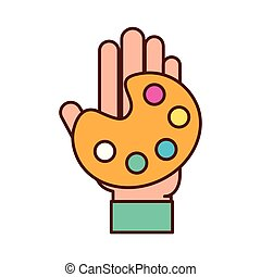 graphic designer hand with palette color
