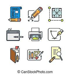 graphic designer icon set color