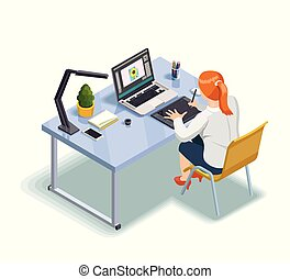 Graphic Designer Isometric Illustration - Female graphic...