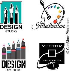 Graphic designer or design studio vector icons
