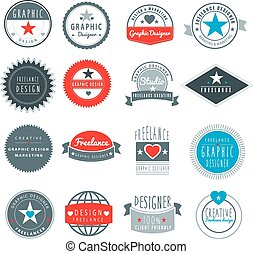 graphic designer or freelance logo template - set of...