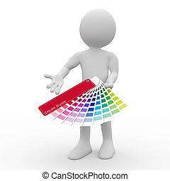 Graphic designer showing a color palette