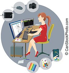 Graphic designer with a variety of tools - Designer girl...