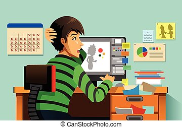 A vector illustration of a a graphic designer working on his computer