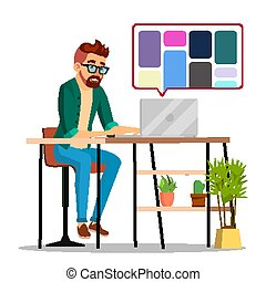 Graphic Designer Working Vector. Man Searching For References On Popular Creative Web Site. Freelance Concept. Isolated Illustration