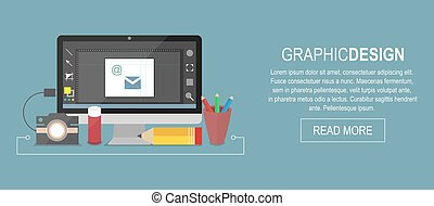 Graphic designer workplace banner, flat vector illustration.