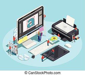 Graphic Designer Workspace Concept
