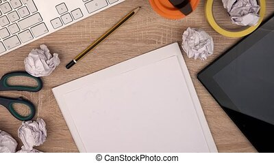 Graphic designer writing Answer on piece of paper with felt...