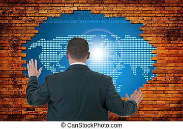 graphic., digitale, buco, vecchio, parete, mondo, concetto