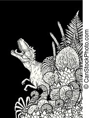 Graphic dinosaur and prehistoric plants