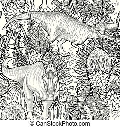 Graphic dinosaur pattern