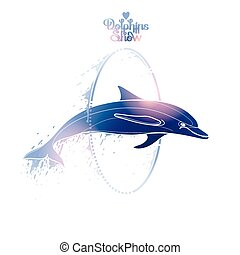 Graphic dolphin jumping through a hoop