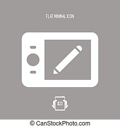Graphic drawing tablet - Vector flat minimal icon